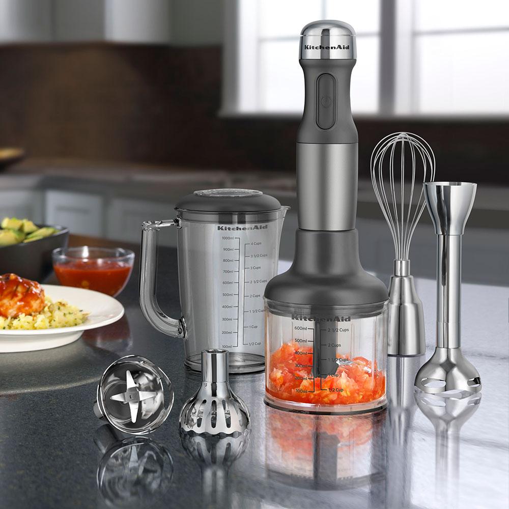 KitchenAid KHB2561CU 5-Speed Hand Blender w/ 5-Attachments, Contour Silver