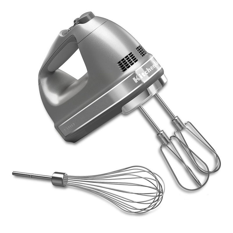 KitchenAid KHM7210CU 7-Speed Hand Mixer w/ Turbo Beater Accessories & Pro Whisk, Contour Silver