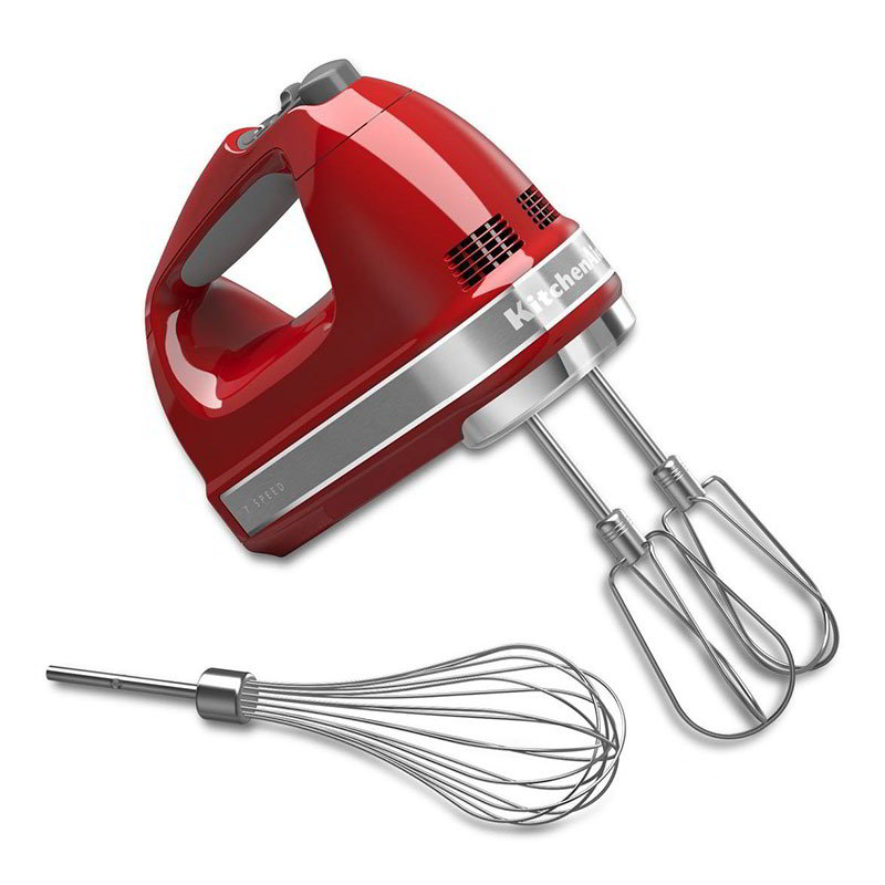 KitchenAid KHM7210ER 7-Speed Hand Mixer w/ Turbo Beater Accessories & Pro Whisk, Empire Red