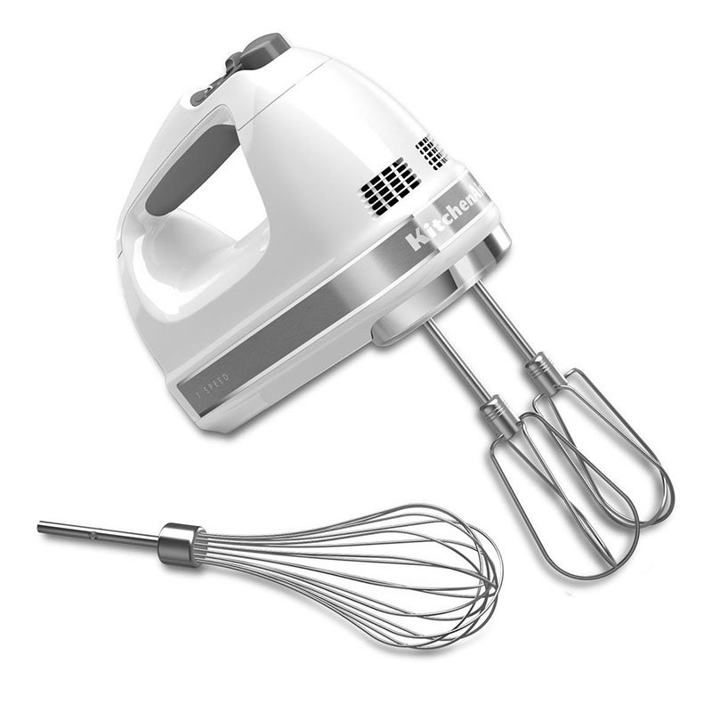 KitchenAid KHM7210WH 7-Speed Hand Mixer w/ Turbo Beater Accessories & Pro Whisk, White