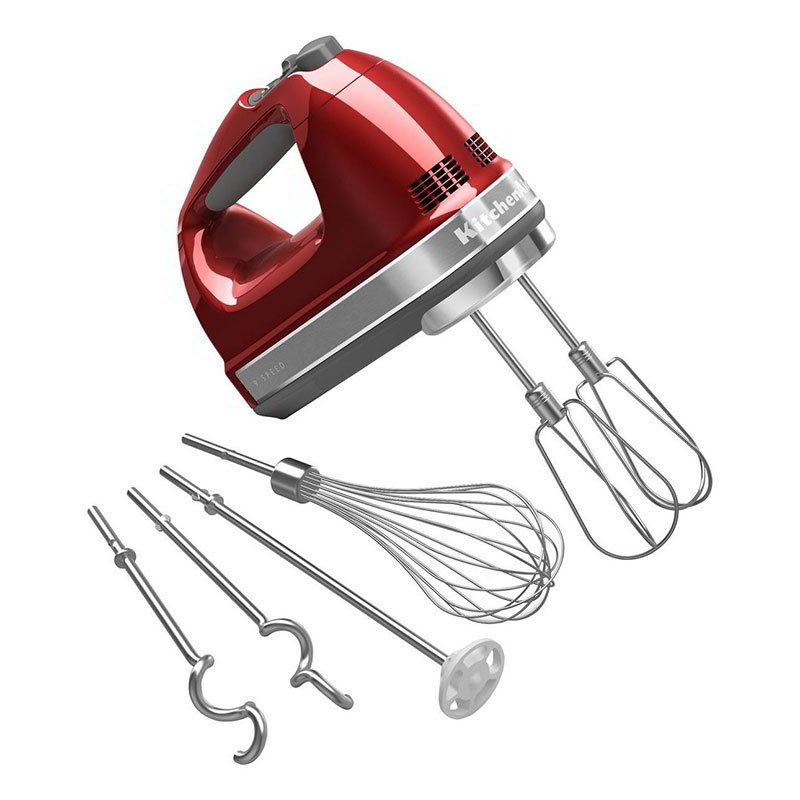 KitchenAid KHM926CA 9-Speed Hand Mixer w/ Exclusive Accessory Pack, Candy Apple Red