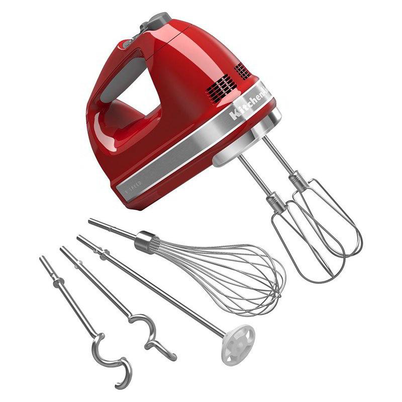 Kitchenaid KHM926ER 9-Speed Hand Mixer w/ Soft Start, Grip Handle & Accessories Set, Empire Red