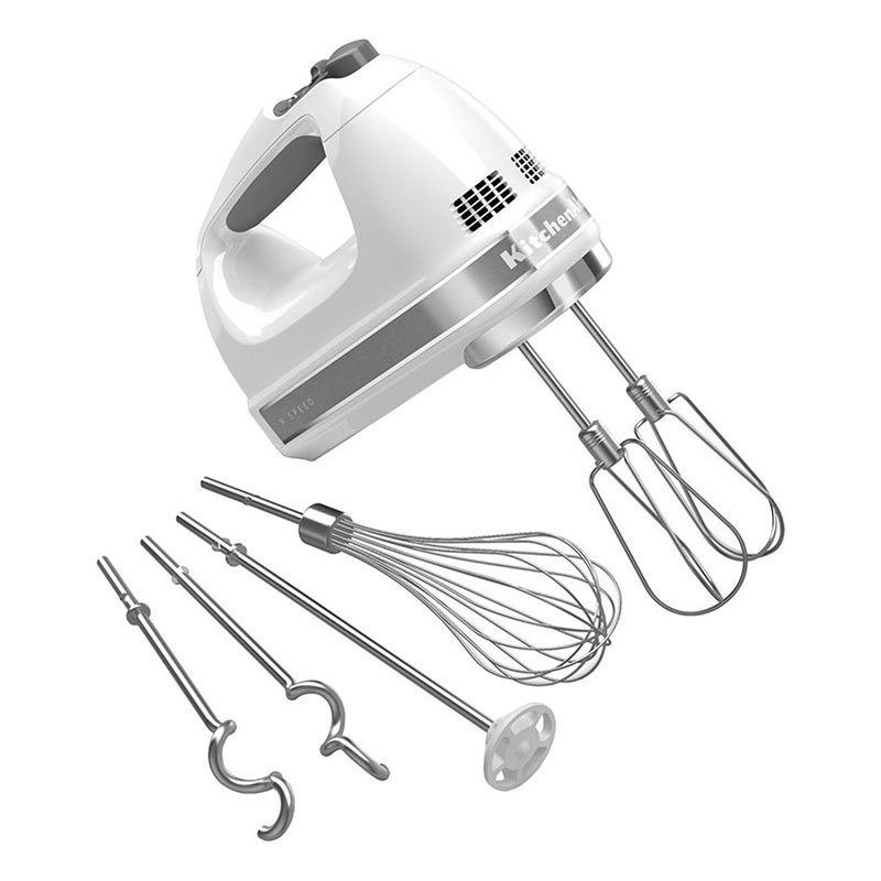 Kitchenaid KHM926WH 9-Speed Hand Mixer w/ Soft Start, Grip Handle & Accessories Set, White