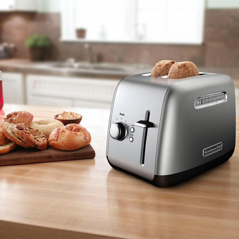 KitchenAid KMT2115CU 2-Slice Toaster - Manual High-Lift Lever, Crumb Tray, Silver