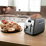 KitchenAid KMT222CU 2-Slice Toaster w/ Defrost & Reheat Button, Contour Silver