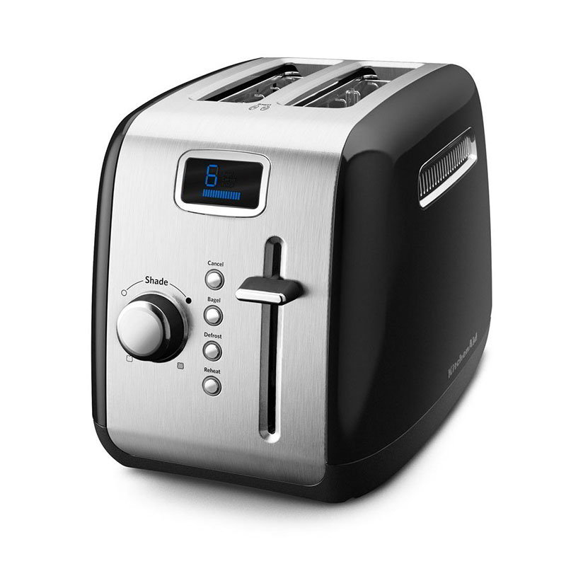 KitchenAid KMT222OB 2-Slice Toaster w/ Defrost & Reheat Button, Onyx Black
