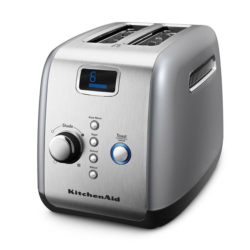 KitchenAid KMT223CU 2-Slice Toaster w/ Digital Lift, Defrost & Reheat, Contour Silver