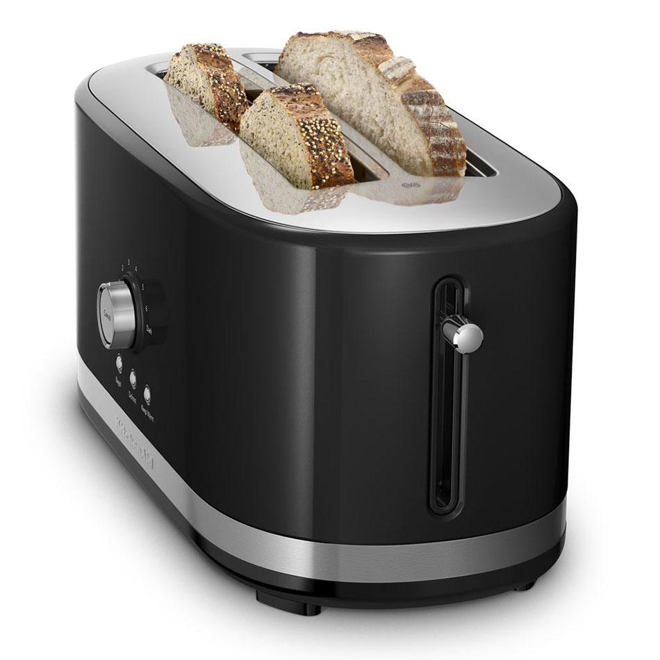 KitchenAid KMT4116OB 4-Slice Toaster w/ Manual High-Lift Lever, Long Slots, Onyx Black