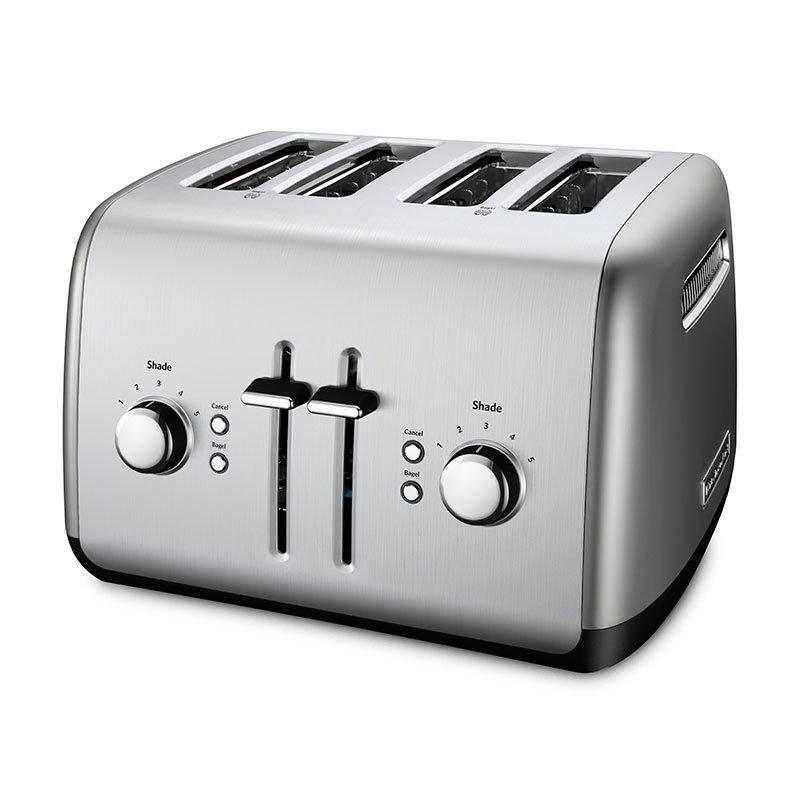 Kitchenaid KMT4115CU 4-Slice Toaster w/ Bagel Button & LCD Display, Contour Silver