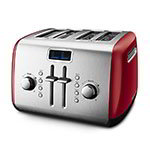 KitchenAid KMT422ER 4-Slice Toaster - Manual High-Lift Lever, CANCEL/DEFROST/REHEAT Buttons, Red
