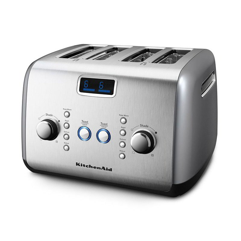 KitchenAid KMT423CU 4-Slice Toaster w/ Digital Lift, Defrost & Reheat, Contour Silver