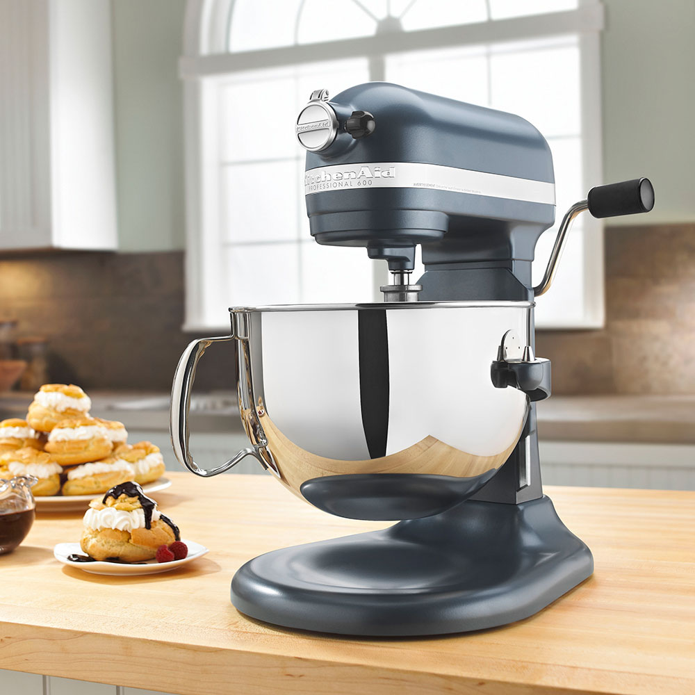 KitchenAid KP26M1XBS Professional 600 Series Mixer With Pouring Shield, 6 Qt, Blue Steel