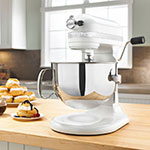 KitchenAid KP26M1XWH 10-Speed Stand Mixer w/ 6-qt Stainless Bowl & Accessories, White