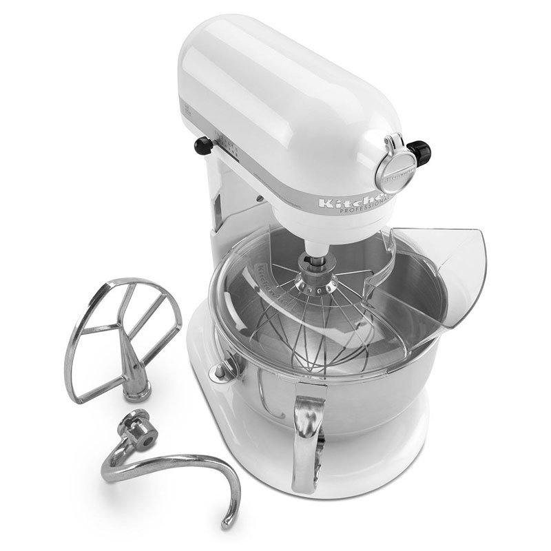 KitchenAid KP26M1XWH Professional 600 Series Mixer With Pouring Shield, 6 Qt, White