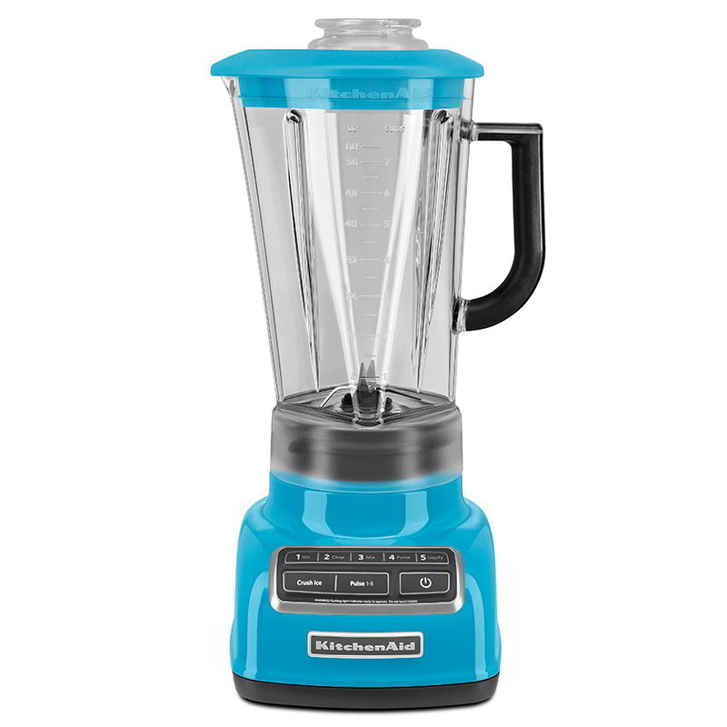 KitchenAid KSB1575CL 5-Speed Blender w/ 60-oz Pitcher & Reinforced Coupler, Crystal Blue
