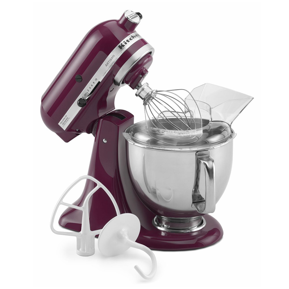 KitchenAid KSM150PSBY 10-Speed Stand Mixer w/ 5-qt Stainless Bowl & Accessories, Boysenberry, 120v
