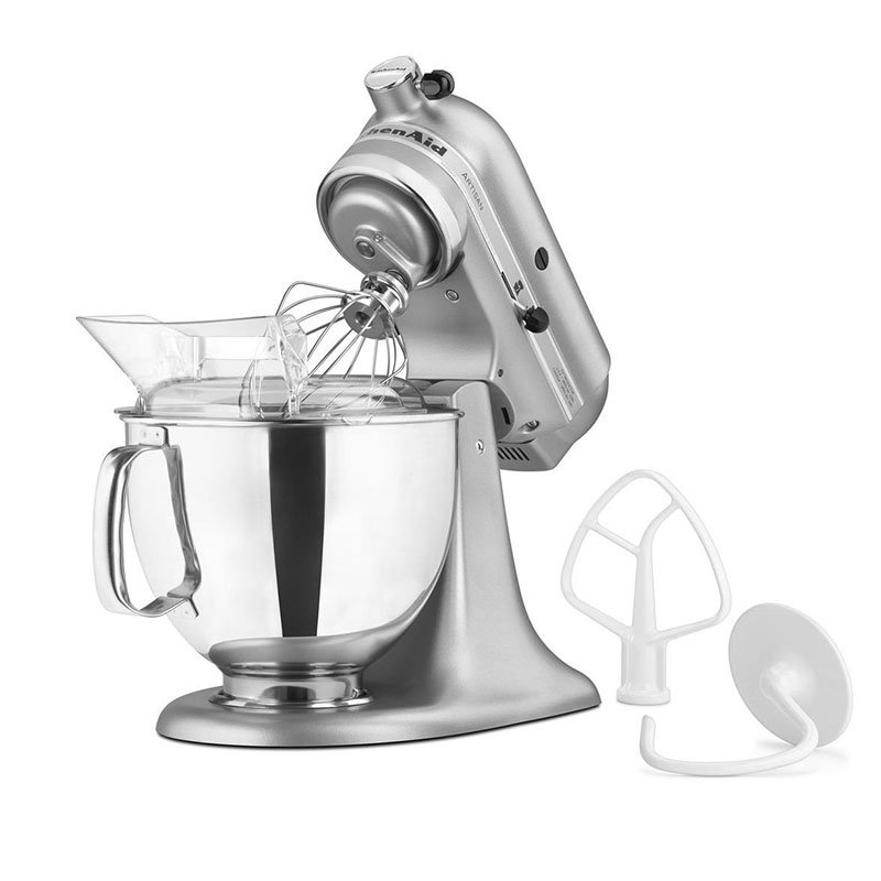 KitchenAid KSM150PSSM 10-Speed Stand Mixer w/ 5-qt Stainless Bowl & Accessories, Silver Metallic