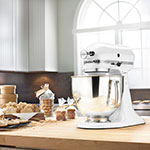 KitchenAid KSM150PSWH 10-Speed Stand Mixer w/ 5-qt Stainless Bowl & Accessories, White