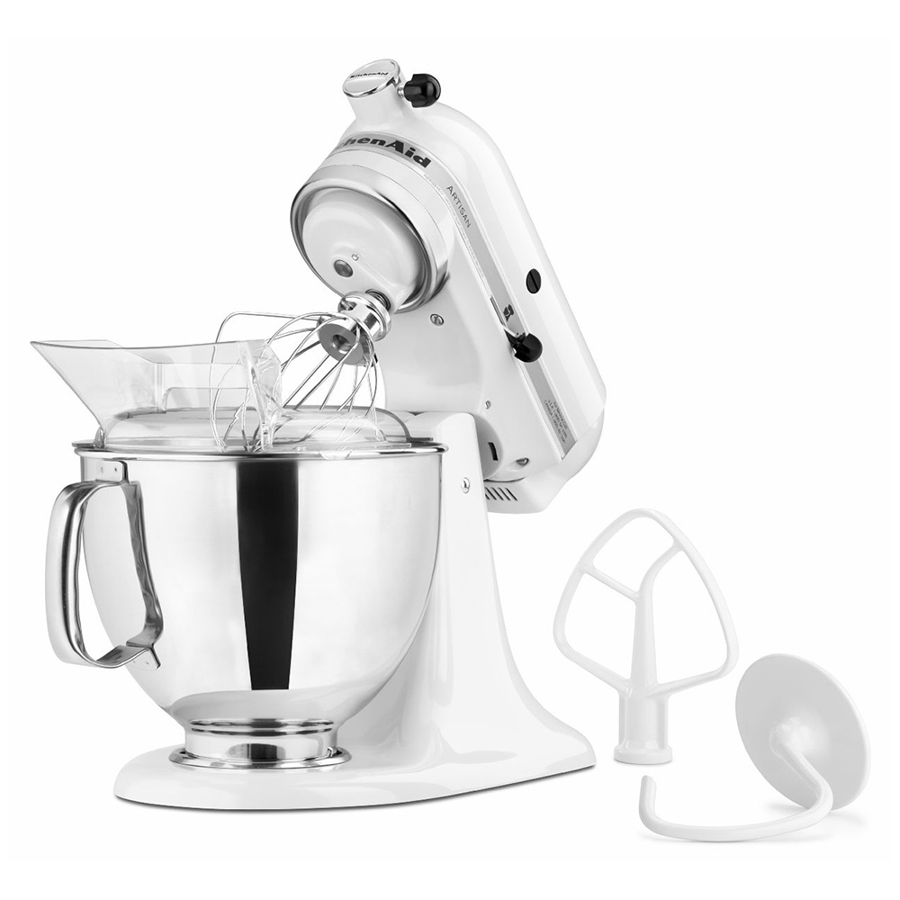 Kitchenaid KSM150PSWH Artisan Series 5-Quart Mixer, 10 Speed, White w/Silver Band