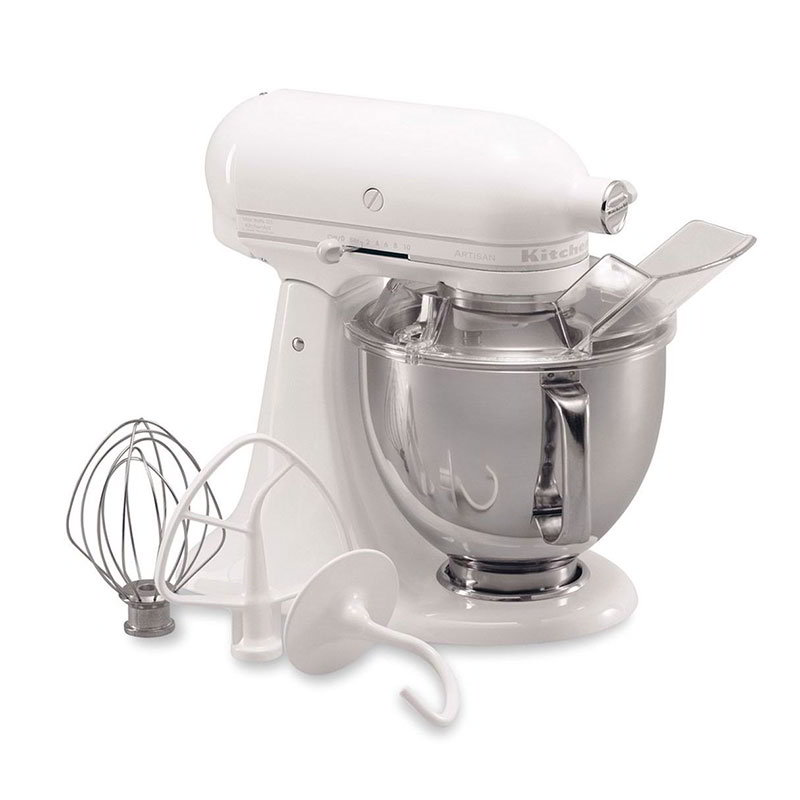 KitchenAid KSM150PSWW 10-Speed Stand Mixer w/ 5-qt Stainless Bowl & Accessories, White