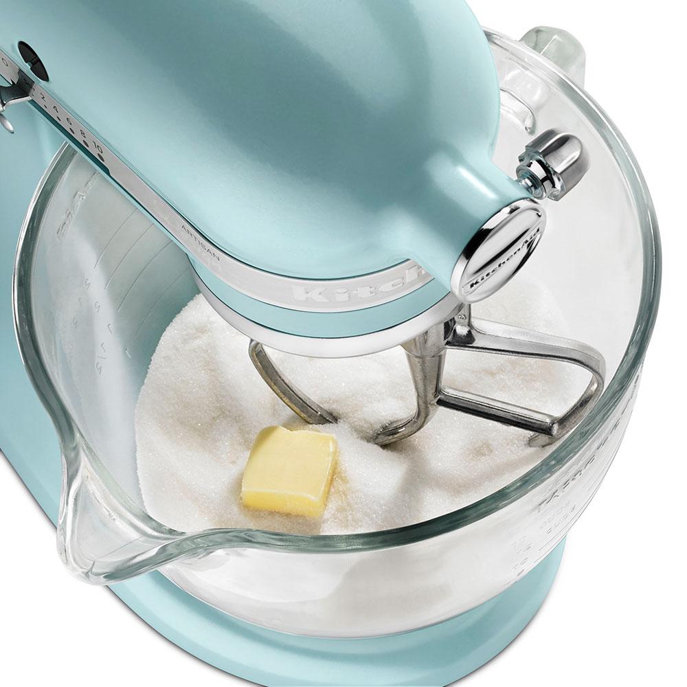 KitchenAid KSM155GBAZ 10-Speed Stand Mixer w/ 5-qt Glass Bowl & Accessories, Azure Blue