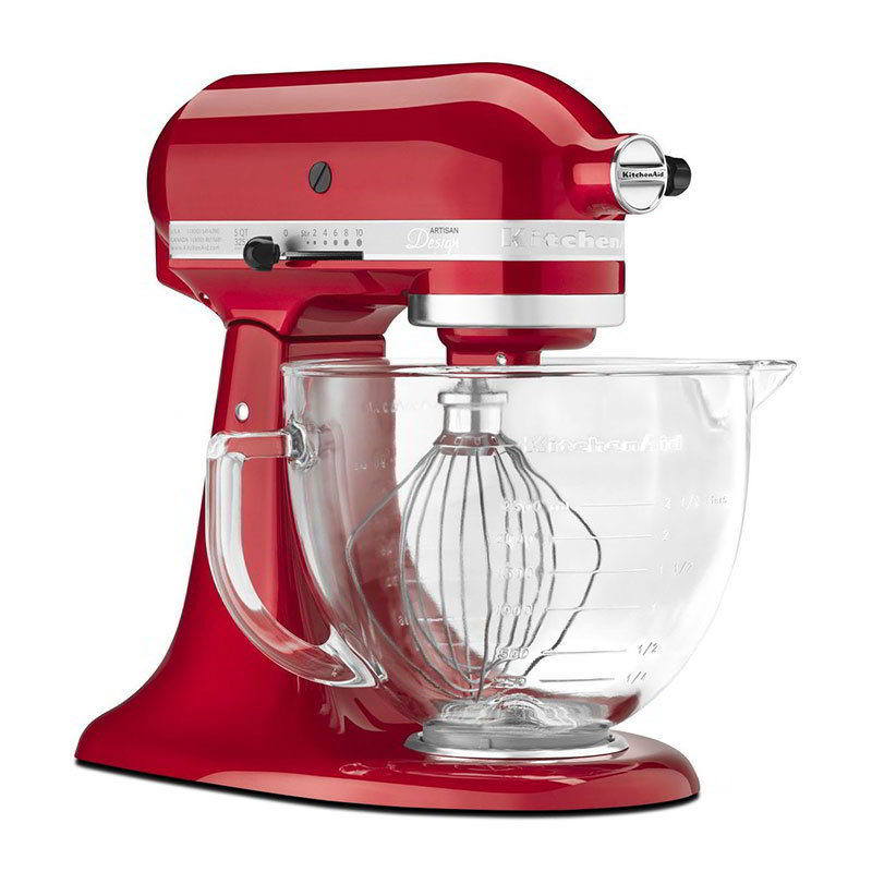 KitchenAid KSM155GBCA 10-Speed Stand Mixer w/ 5-qt Glass Bowl & Accessories, Candy Apple Red
