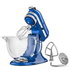 KitchenAid KSM155GBEB 10-Speed Stand Mixer w/ 5-qt Glass Bowl & Accessories, Electric Blue