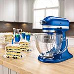 KitchenAid KSM155GBEB 10-Speed Stand Mixer w/ 5-qt Glass Bowl & Accessories, Electric Blue