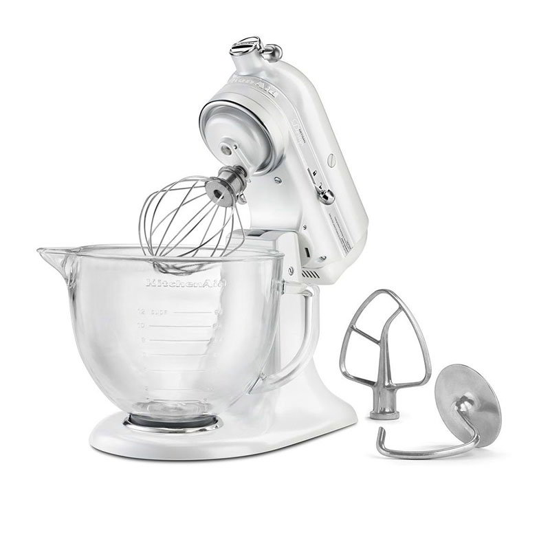 KitchenAid KSM155GBFP Artisan Design Series Stand Mixer w/ 5-qt Glass Bowl, Frosted Pearl