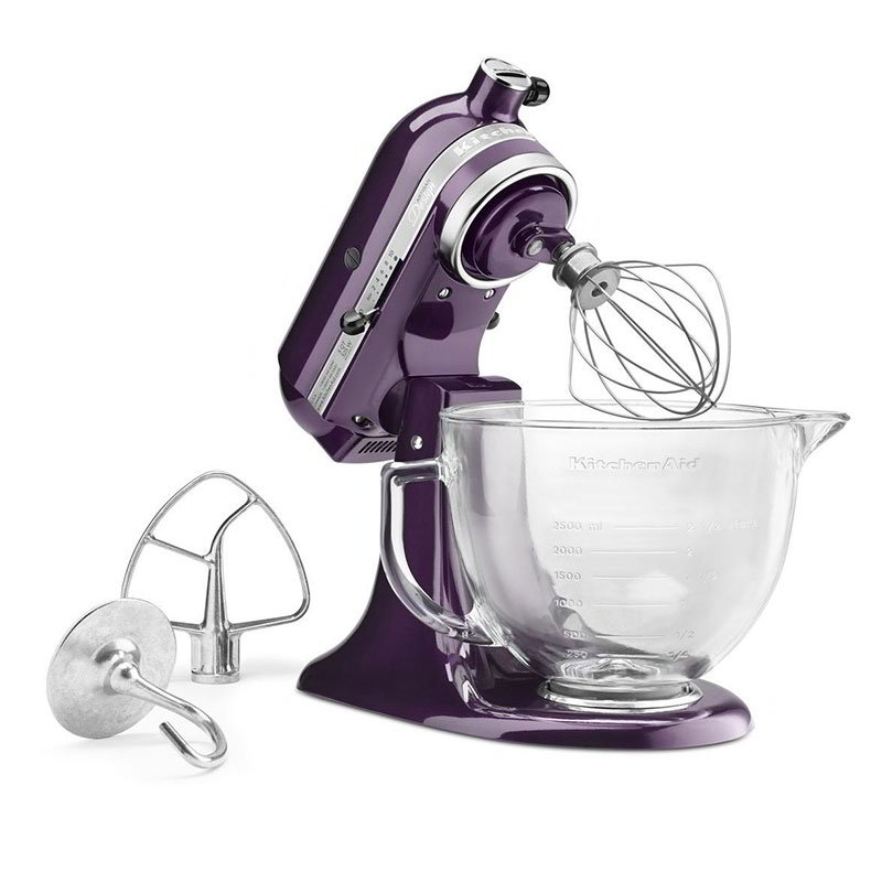 KitchenAid KSM155GBPB 10-Speed Stand Mixer w/ 5-qt Glass Bowl & Accessories, Plumberry