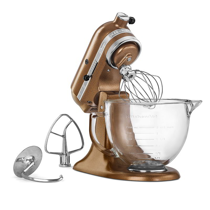 Kitchenaid KSM155GBQC Tilt-Head Stand Mixer w/ 5-qt Glass Bowl, Antique Copper