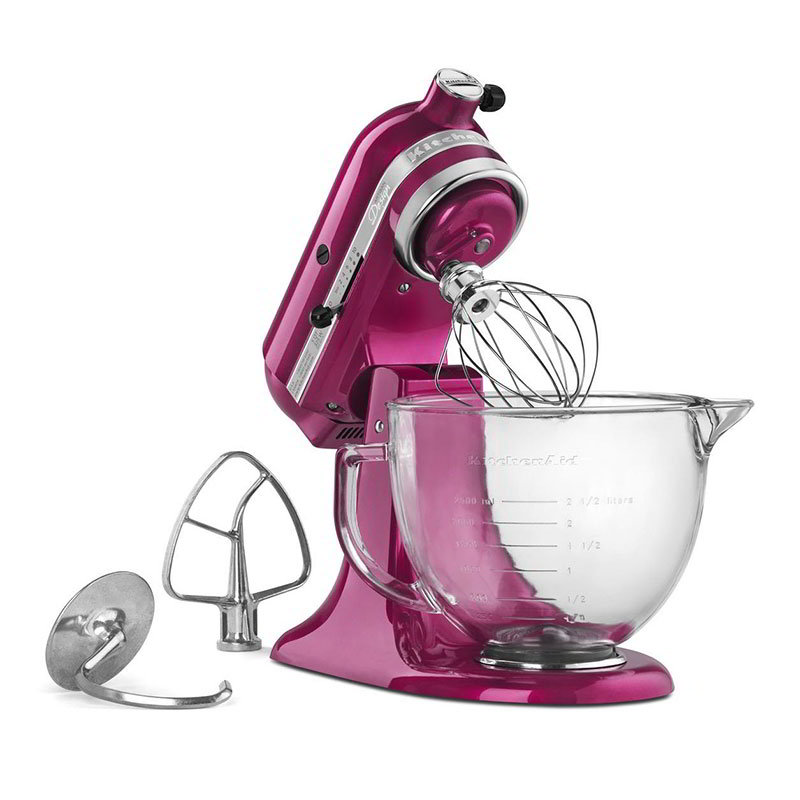KitchenAid KSM155GBRI 10-Speed Stand Mixer w/ 5-qt Glass Bowl & Accessories, Raspberry Ice