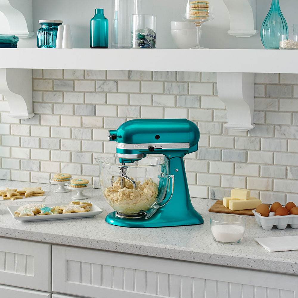 KitchenAid KSM155GBSA 10-Speed Stand Mixer w/ 5-qt Glass Bowl & Accessories, Sea Glass