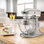 KitchenAid KSM155GBSR 10-Speed Stand Mixer w/ 5-qt Glass Bowl & Accessories, Sugar Pearl
