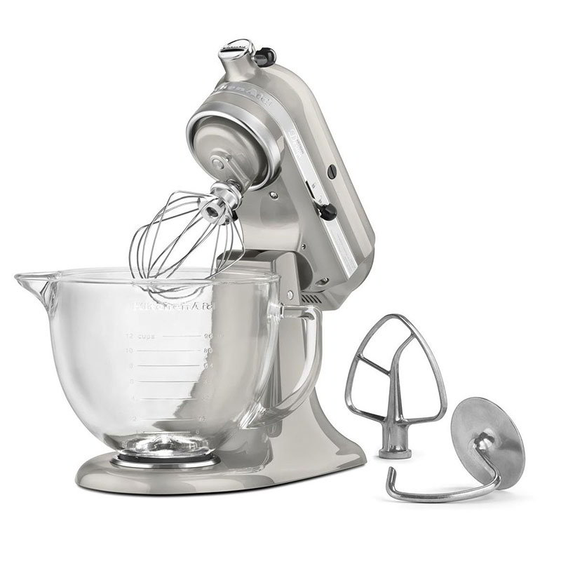 Kitchenaid ksm155gbsr 10 speed stand mixer w 5 qt glass bowl accessories sugar pearl - Kitchenaid glass bowl attachment ...