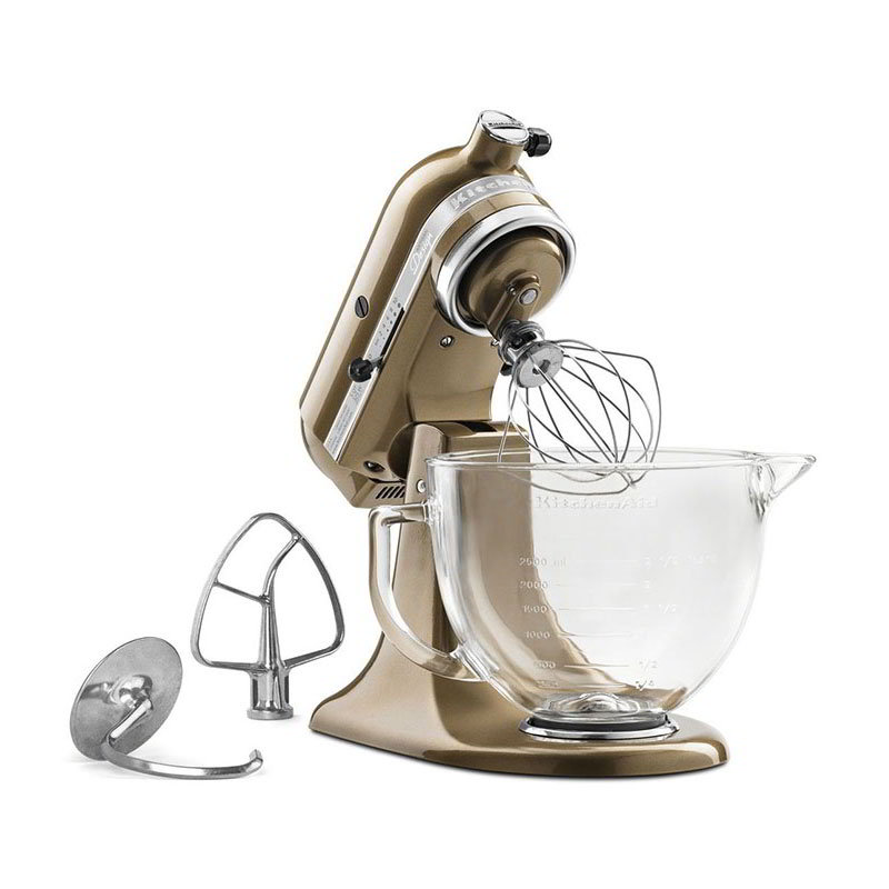KitchenAid KSM155GBTF 10-Speed Stand Mixer w/ 5-qt Glass Bowl & Accessories, Toffee