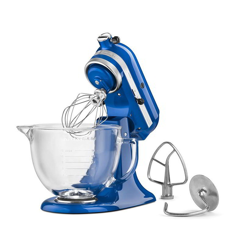 KitchenAid KSM155GBUB 10-Speed Stand Mixer w/ 5-qt Glass Bowl & Accessories, Blueberry