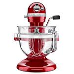 KitchenAid KSM6521XCA 10-Speed Stand Mixer w/ 6-qt Glass Bowl & Accessories, Candy Apple Red