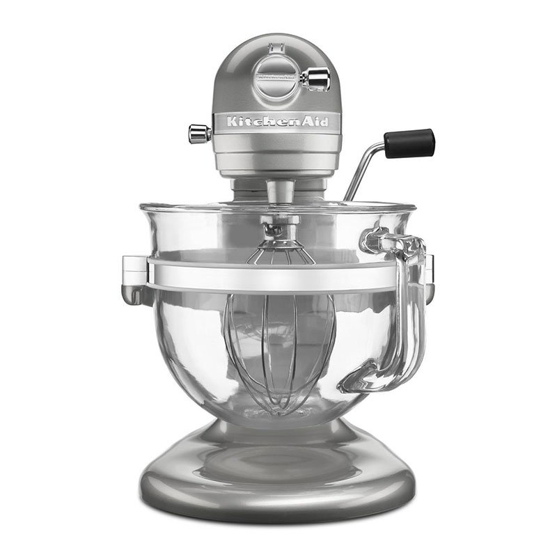 KitchenAid KSM6521XSR 10-Speed Stand Mixer w/ 6-qt Glass Bowl & Accessories, Sugar Pearl Silver