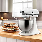 KitchenAid KSM75WH 10-Speed Stand Mixer w/ 4.5-qt Stainless Bowl & Accessories, White