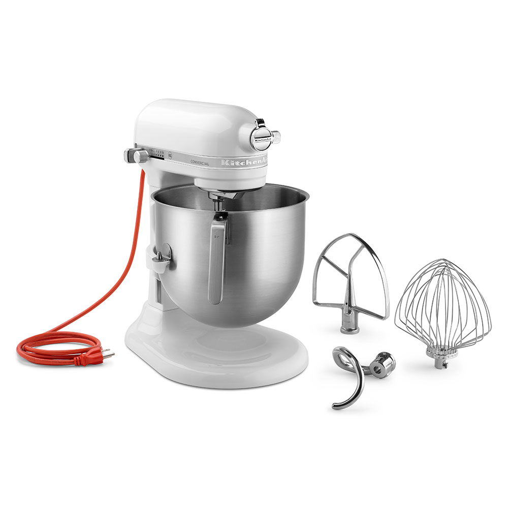 KitchenAid KSM8990WH 10 Speed Stand Mixer W/ 8 Qt Stainless Bowl U0026  Accessories, White