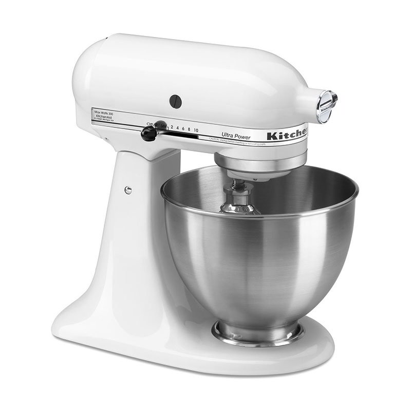KitchenAid KSM95WH 10-Speed Stand Mixer w/ 4.5-qt Stainless Bowl & Accessories, White, 120v