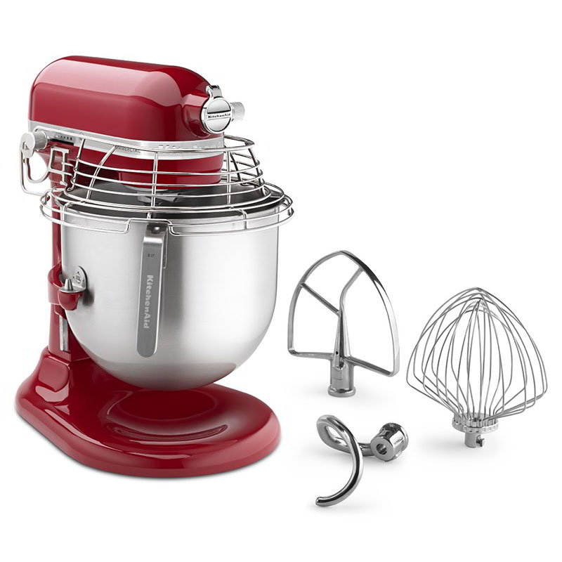 KitchenAid KSMC895ER 10-Speed Bowl-Lift Stand Mixer w/ 8-qt Stainless Bowl & Accessories, Empire Red