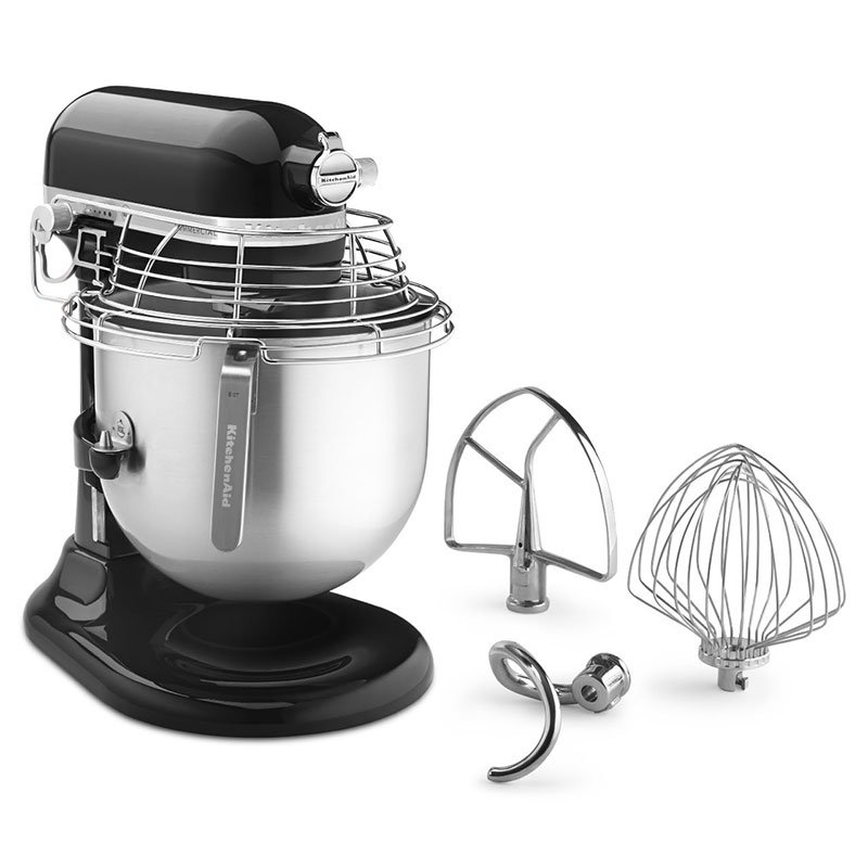 KitchenAid KSMC895OB 10-Speed Bowl-Lift Stand Mixer w/ 8-qt Stainless Bowl & Accessories, Onyx Black