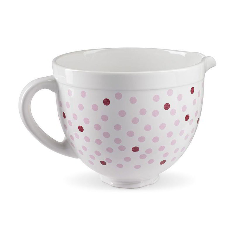 KitchenAid KSMCB5NPD Ceramic Mixing Bowl for 5-qt KitchenAid Stand Mixers, Pink Polka Dot