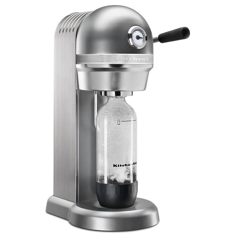 KitchenAid KSS1121CU Sparkling Beverage Maker powered by SodaStream® w/ Starter Pack, Contour Silver