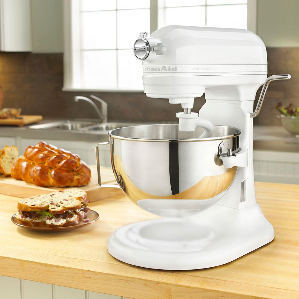 KitchenAid KV25GOXWW Professional 5 Plus Series 5 Quart Stand Mixer, White on White