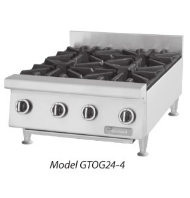 "Garland GTOG36-6 LP 36"" Countertop Hotplate, 6 Open Burners, Manual Control, LP"