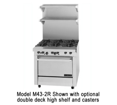 Garland / US Range M43-2S NG Master Series Heavy Duty Range 34 in 2 Burners 2 Hot Tops Storage Base NG Restaurant Supply