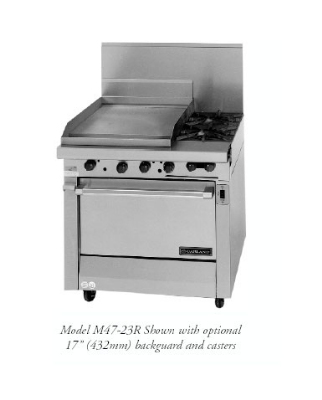 Garland / US Range M47-23S NG Master Series Heavy Duty Range 2 Burners Fry Top w/ Manual Storage Base NG Restaurant Supply